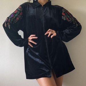 Wearable art velvet jacket